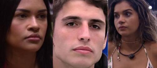 Será que o 1º triângulo amoroso da edição foi formado? A web aponta que Flay ficou enciumada com Prior e Gizelly. (Foto: Montagem/Globo).
