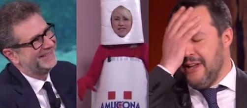Fabio Fazio, Luciana Littizzetto e Matteo Salvini.