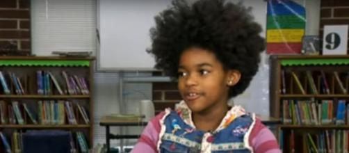 Fourth-grader Belen Woodard began her 'More Than Peach' initiative to help every child feel important and included. [Image source:CBS/YouTube]