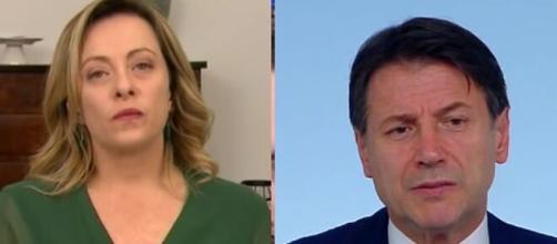 Giorgia Meloni contro Giuseppe Conte sulla possibilità di usare Mes per l'emergenza economica.