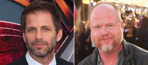 Joss Whedon (direita) faz brincadeira com versão de 'Liga da Justiça' de Zack Snyder (esquerda). (Arquivo Blasting News)