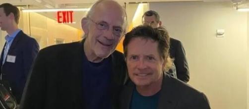 Os atores Michael J. Fox e Christopher Lloyd da franquia 'De Volta Para o Futuro'. (Foto: Instagram / @realmikejfox)