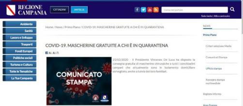 Regione Campania, dati contagio e mascherine gratuite