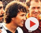 Zico tra Falcao e Cerezo prima di Udinese-Roma nella stagione 1983/84.