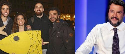 Coronavirus, le Sardine criticano Salvini per aver condiviso il video del 2015 su un virus creato in un laboratorio cinese.
