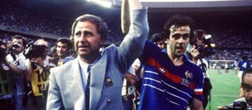 Michel Hidalgo insieme a Michel Platini ai campionati europei del 1984.