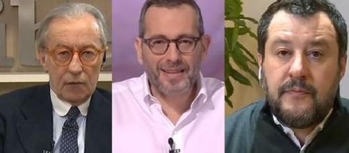 Vittorio Feltri, Corrado Formigli e Matteo Salvini.