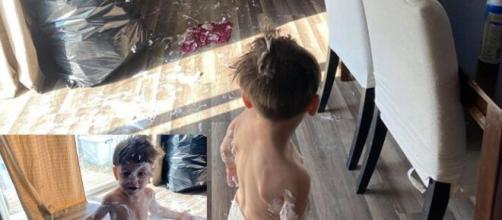 Photos of Danielle Jbali's grandchild playing in her kitchen. (Image source: Instagram/@daniellejbali)