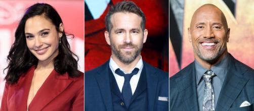 """O trio de protagonistas de """"Red Notice"""" da Netflix: Gal Gadot, Ryan Reynolds e Dwayne Johnson. (Arquivo Blasting News)"""