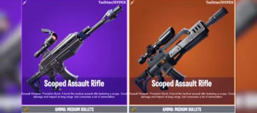 The Scoped AR and the Slug Shotgun has been added in the 'Fortnite' game files. [Image source: Ali-A/YouTube]
