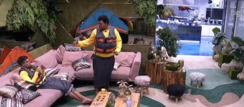 'BBB20': Babu e Prior conversam na sala. (Reprodução/TV Globo)