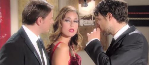 Un posto al sole: Filippo (Michelangelo Tommaso), Serena (Miriam Candurro) e Tommaso (Michele Cesari).