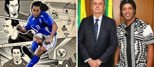 """As polêmicas de Ronaldinho além dos """"rolês aleatórios"""". (Fotomontagem)"""