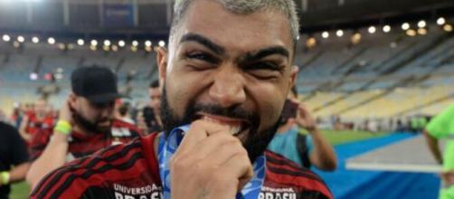Gabigol comemorando título pelo Flamengo. (Reprodução/Alexandre Vidal / Flamengo)
