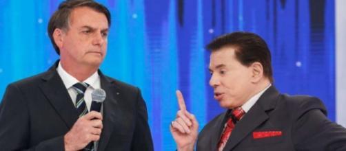 Jair Bolsonaro e Sílvio Santos no SBT. (Reprodução/Sbt TV).