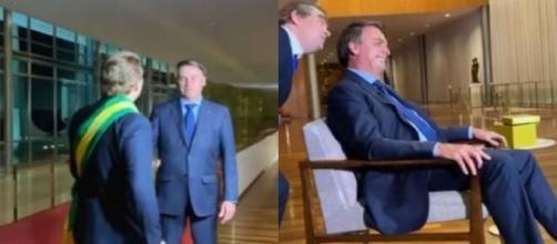 Jair Bolsonaro com o humorista Carioca. (Reprodução/Instagram/@carioca).