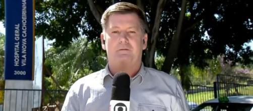 Ao perceber o ocorrido, equipe da Globo imediatamente corta a imagem para o estúdio. (Reprodução/TV Globo)