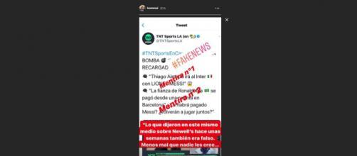 El posteo del Instagram de Lionel Messi donde desmiente las fake news.