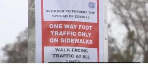 One-way sidewalks unveiled in Beverly to fight coronavirus. [Image source/WCVB Channel 5 Boston YouTube video]
