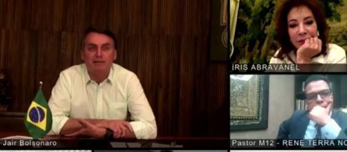 Iris Abravanel faz live com Jair Bolsonaro. (Reprodução/SBT)