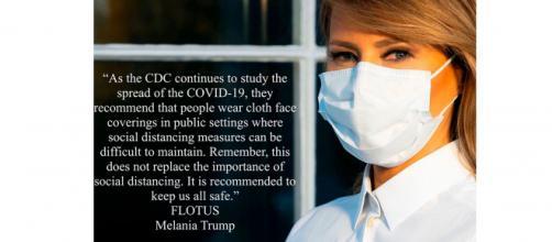 Melania Trump hace desde sus redes oficiales campaña por el uso de mascarillas.