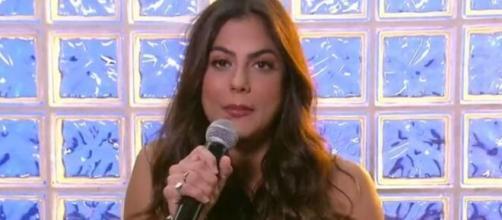 Mari Gonzalez durante participação no Encontro desta quarta (22); ex-BBB avaliou amizade com Flayslane. ( Reprodução/TV Globo )