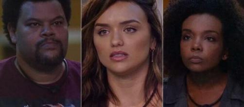 """Babu, Rafa e Thelma se enfrentam no último paredão do """"BBB20"""". (Reprodução/TV Globo)"""
