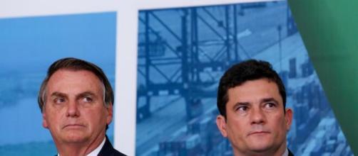 Bolsonaro e Sergio Moro em embate. (Arquivo Blasting News)