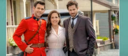 """Kevin McGarry, Erin Krakow, and Chris McNally live quarantine life and look to """"When Calls the Heart"""" r.[Image source:HallmarkChannel-YouTube]"""