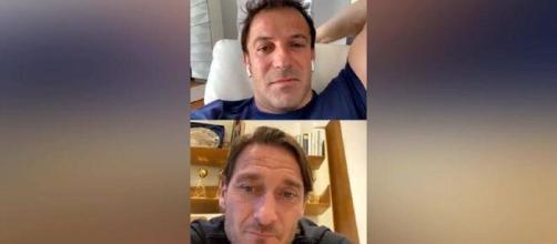 Alex Del Piero e Francesco Totti in una diretta Instagram.