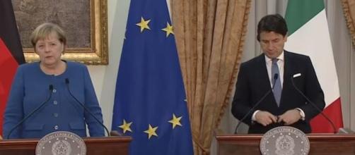 Angela Merkel e Giuseppe Conte.