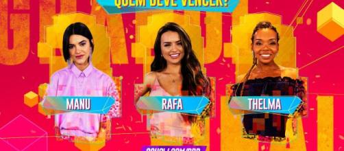 """Manu, Rafa e Thelma foram as finalistas do """"BBB20"""". (Reprodução/GShow)"""