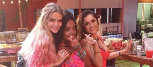 Thelma com Marcela e Gizelly no 'BBB20'. (Reprodução/Rede Globo)