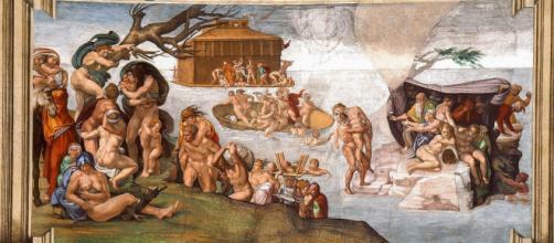 O dilúvio é uma narrativa mítica do medo de várias culturas de como o mundo pode acabar e renascer (Ilustração: Pintura de Michelângelo)