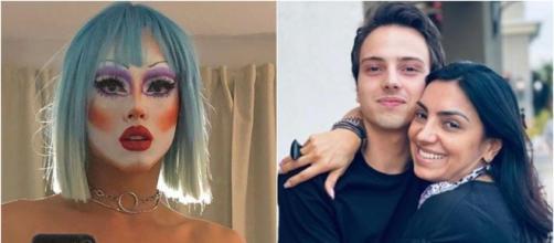 Filho de Eyshila divide registros montado como Drag Queen com seus seguidores. (Reprodução/Instagram/@itsperidotx/@eyshilasantos)