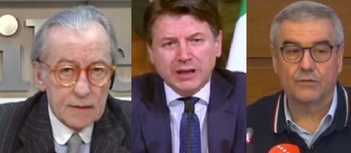 Vittorio Feltri, Giuseppe Conte e Angelo Borrelli.