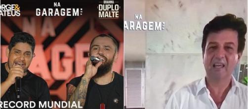 Mandetta participou da live de Jorge e Mateus e falou sobre coronavírus. (Reprodução/Instagram/@jorgeemateus/Youtube/@jorgeemateusoficial)