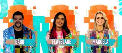 Babu, Flayslane e Marcela se enfrentam no 12º Paredão do 'BBB20'. (Reprodução/TV Globo)