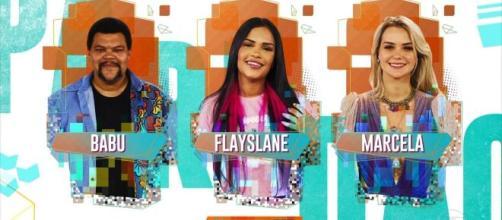 Flayslane, Babu e Marcela disputam paredão. (Reprodução/TV Globo)