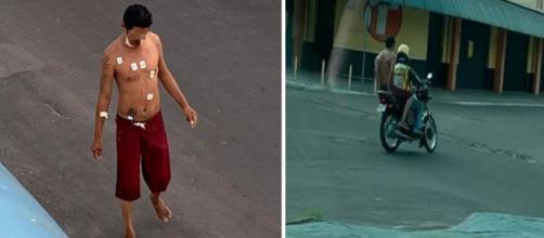 Homem internado com covid-19 foge de hospital e pega mototáxi para fugir. (Fotomontagem)