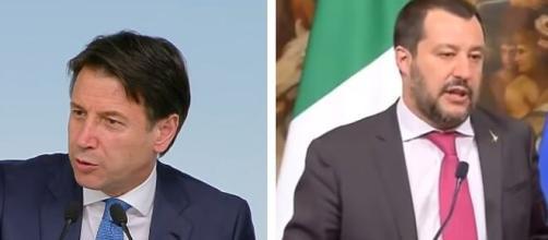 Il presidente del Consiglio Giuseppe Conte e Matteo Salvini.