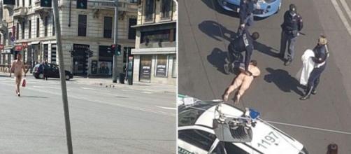 L'uomo passeggiava senza abiti in Corso Buenos Aires, con indosso una collanina e in mano un sacchetto di plastica