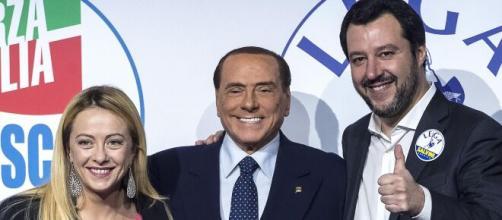 Giorgia Meloni, Silvio Berlusconi e Matteo Salvini.