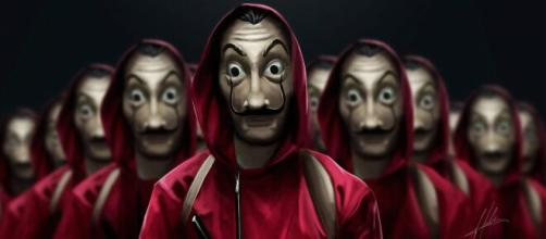 La celebre maschera di Salvador Dalì, indossata dai protagonisti de La casa di carta
