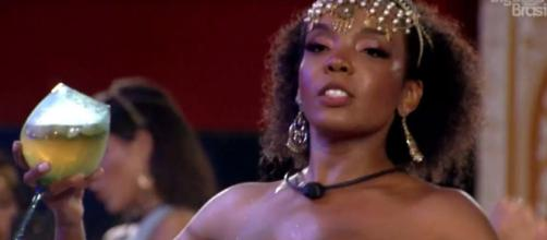 Thelma durante a festa Mil e Uma Noites. (Reprodução/TV Globo)