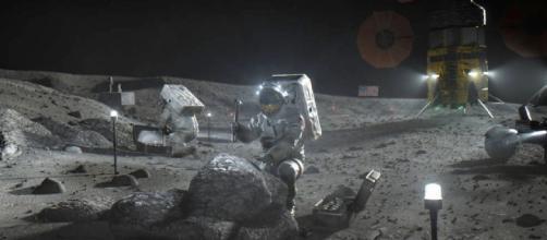 Representación gráfica de la NASA de la Luna con los astronautas del proyecto Artemisa.