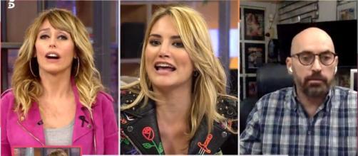 Emma García, Alba Carrillo y Diego Arrabal en uno de los momentos más tensos de 'Viva la vida' (Telecinco)