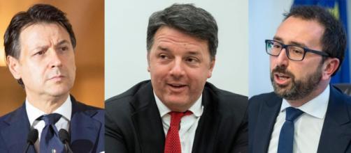 Giuseppe Conte, Matteo Renzi e Alfonso Bonafede.