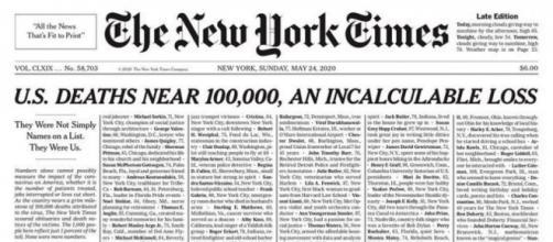 Il quotidiano statunitense New York Times dedica la prima pagina alle vittime del Covid-19