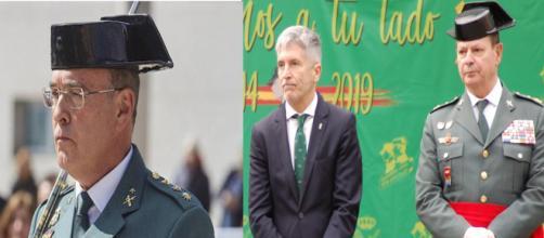 El cesado Coronel Pérez de los Cobos y el ministro Marlaka con el dimitido Gral. Ceña que abandonó el cargo en solidaridad con su compañero.